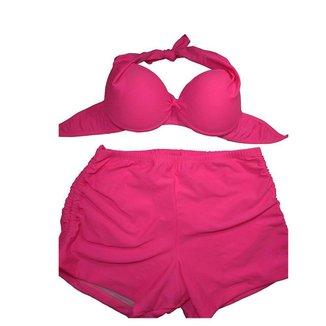 Conjunto Biquini Plus Size Com Short De Ajuste Lateral Rosa