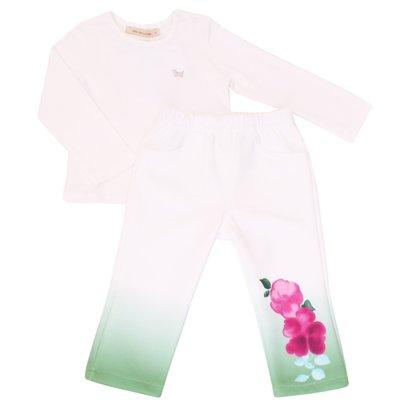 Conjunto Blusa e Calça 1+1 Off White com Flor