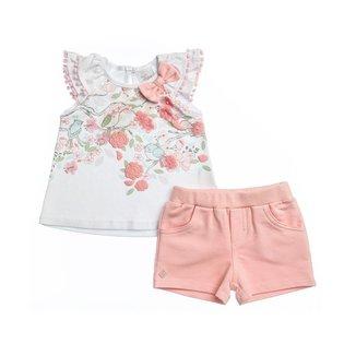 Conjunto Blusa Estampada Passarinhos Com Pompom E Short Em Molecotton Infantil Feminino Anjos Baby