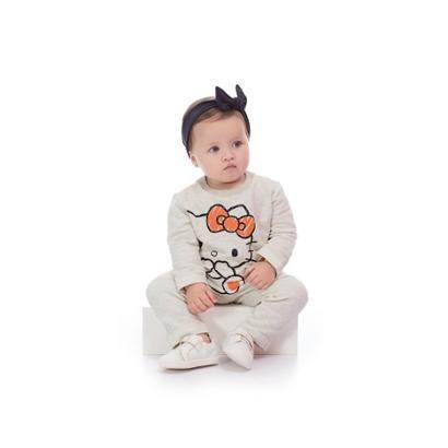 Conjunto Blusão E Calça Bebê Moletom Hello Kitty Feminino-Feminino
