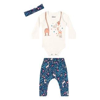Conjunto Body+Calça Bebê Elian Cotton C/ Faixa De Cabelo