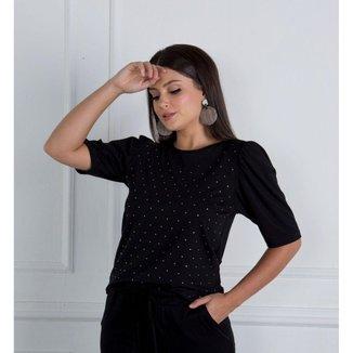 Conjunto calça + T-shirt preta com cristais