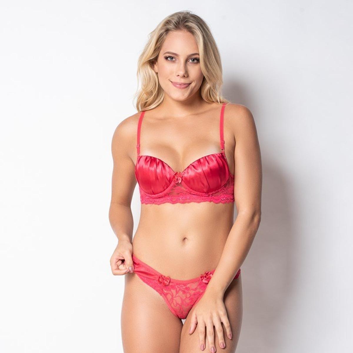 Conjunto Click Chique Sexy Com Cetim - Coral - Compre Agora  3946e34be69