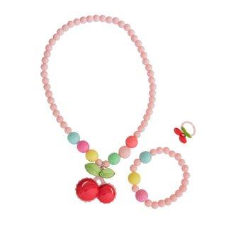 Conjunto Colar Pulseira Anel Infantil Ania Store Cherry Feminino