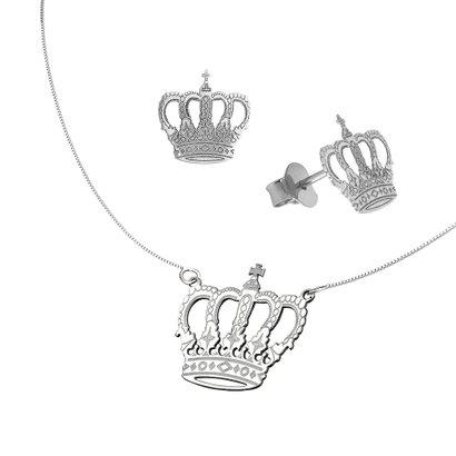 Conjunto Coroa em Prata 925