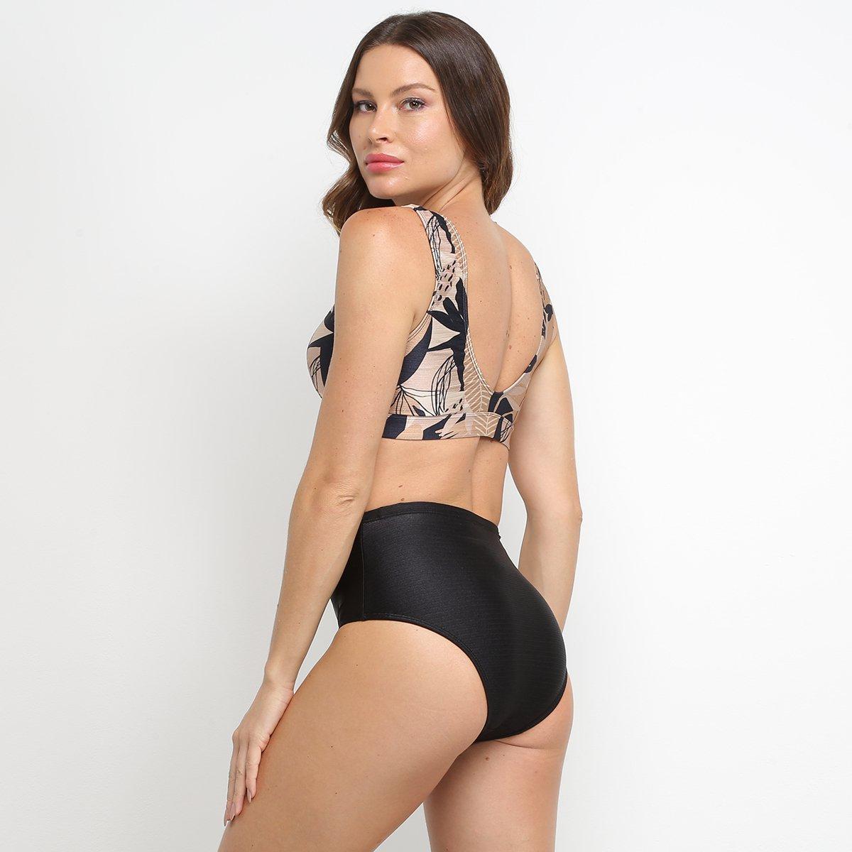 Conjunto de Biquíni Hot Pants Enna Estampado - Marrom