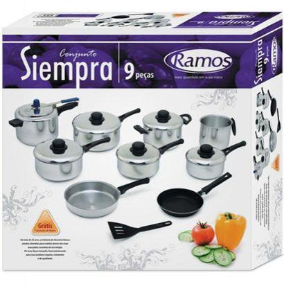 Conjunto De Panelas Aluminio Siempra 9 Pecas Ramos - Unissex - Prata - COD. HYS - 0008 - 064