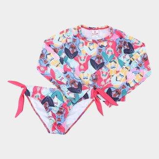 Conjunto de Praia Infantil Brandili Com Proteção UV 50+ Estampado Feminino