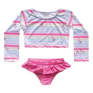 Conjunto de Praia Infantil Fakini Proteção UV 50+ Flamingos Feminino