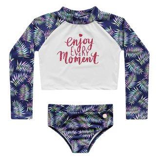 Conjunto de Praia Infantil Fakini Proteção UV 50+ Folhagens Feminino