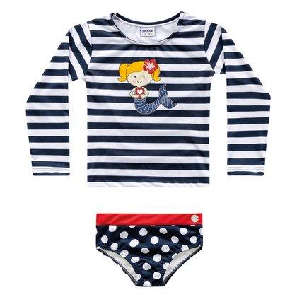 Conjunto de Praia Infantil Fakini Proteção UV 50+ Listrado Feminino