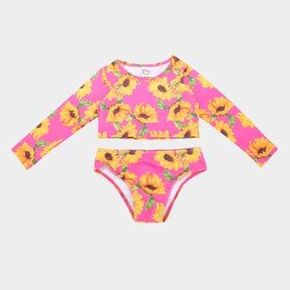 Conjunto De Praia Infantil Manga Longa E Calcinha Boca Grande Floral Com Proteção UV 50+ Feminino