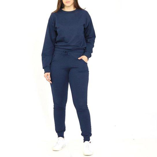 Conjunto Dpontes Moletom Flanelado Feminino - Azul