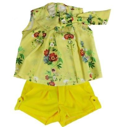 Conjunto Em Empório Bebê Bata Flowers Shorts Crepe Feminino-Feminino