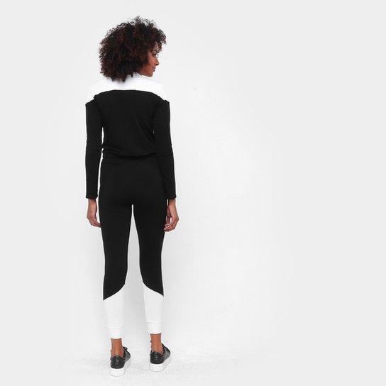 Conjunto ESV Blusa e Calça Moletinho Feminino - Preto+Off White