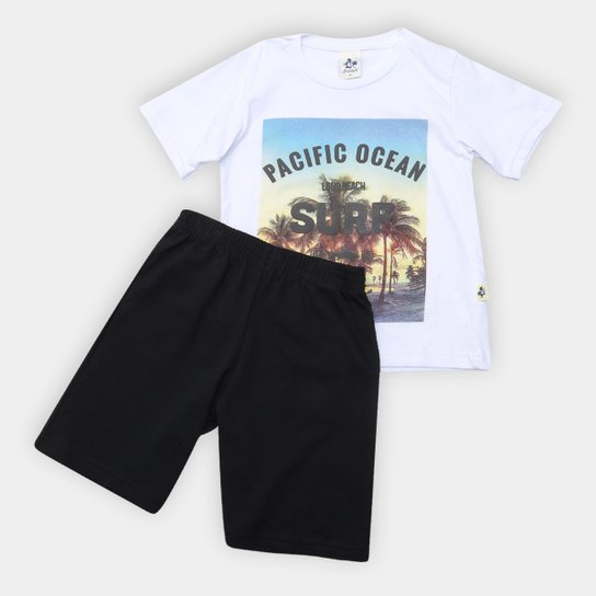 Conjunto Infantil Andritex Malha E Bermuda Moletinho Pacific Ocean Masculino - Branco