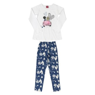 Conjunto Infantil Bee Loop Blusa E Calça Cotton Corações Feminino
