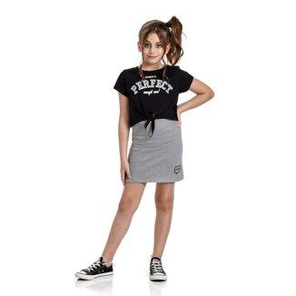 Conjunto Infantil Blusa For Girl Perfect e Saia Ribana Patch Feminino