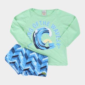 Conjunto Infantil Boca Grande Camiseta Manga Longa E Sunga Com Proteção Masculino