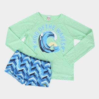 Conjunto Infantil Boca Grande Camiseta + Sunga Proteção UV 50+