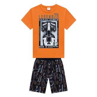 Conjunto Infantil Brandili Camiseta+ Bermuda Moletinho Masculino