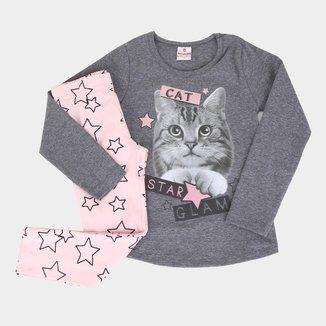 Conjunto Infantil Brandili Cat Star Moletom + Legging Feminino