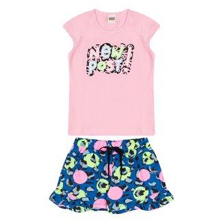 Conjunto Infantil Duzizo Blusa +Shorts New Post Feminino