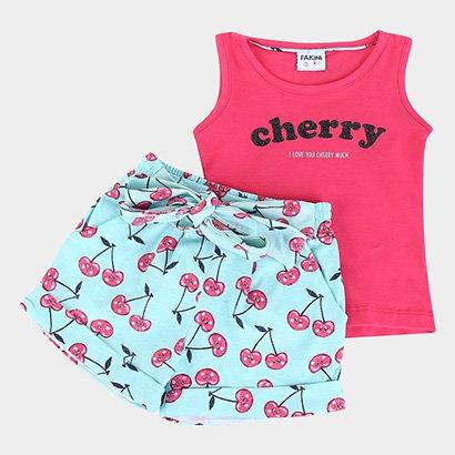 Conjunto Infantil Fakini Gliter Cherry Feminino