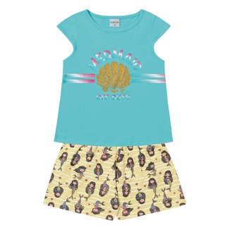 Conjunto Infantil For Fun by Fakini Mermaid Blusa + Short Feminino