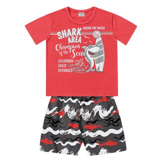 Conjunto Infantil For Fun by Fakini Tubarão Camiseta + Bermuda Masculino