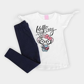 Conjunto Infantil Hello Kitty Blusa Cotton e Calca Malha Jeans
