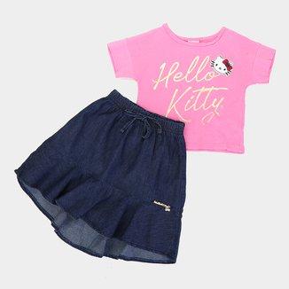 Conjunto Infantil Hello Kitty Blusa E Saia Jeans Feminino