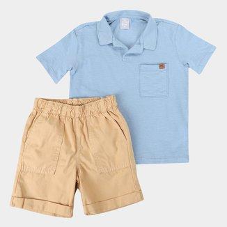 Conjunto Infantil Hering Camisa Polo + Bermuda Sarja Masculino
