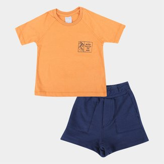 Conjunto Infantil Hering Kids Camiseta + Shorts Moletom Masculino