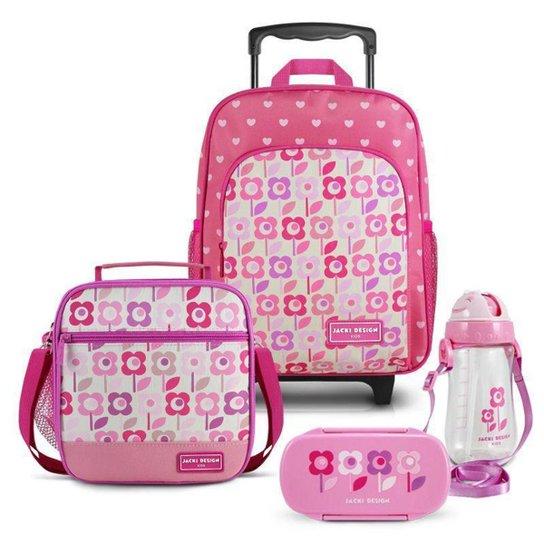 Conjunto Infantil Jacki Design Sapeka Mochila Rodinhas e Térmica Completo Feminina - Rosa Escuro