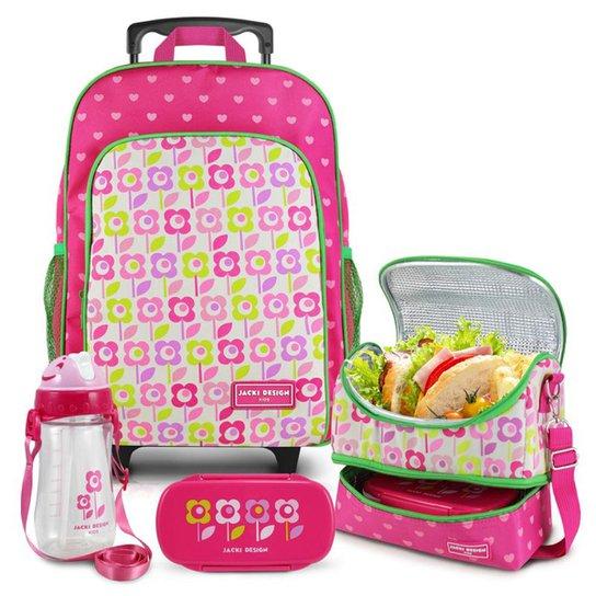 Conjunto Infantil Jacki Design Sapeka Mochila Rodinhas e Térmica Completo Feminina - Pink