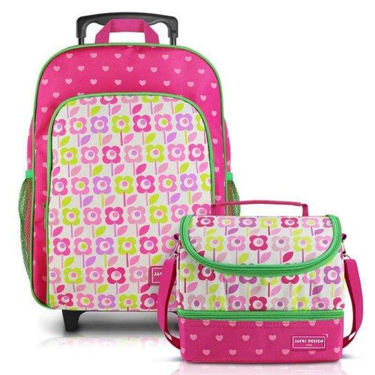 Conjunto Infantil Jacki Design Sapeka Mochilas de Rodinhas e Térmica Feminina - Pink