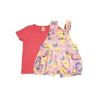Conjunto Infantil Jardineira Cotton Jeans e Camiseta  Pingo Lelê Feminino