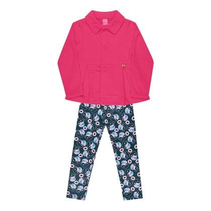 Conjunto Infantil Kamylus Casaco Soft + Legging Estampada Feminino