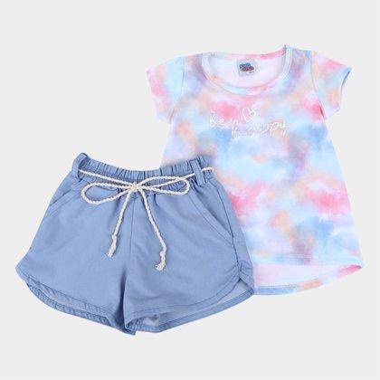 Conjunto Infantil Kiko & Kika Blusa +Shorts Tactel Tie Dye Feminino