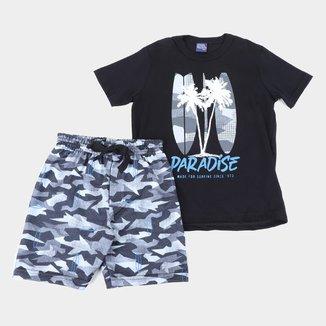 Conjunto Infantil Kiko & Kika Camiseta+Bermuda Moletom Camuflado Masculino