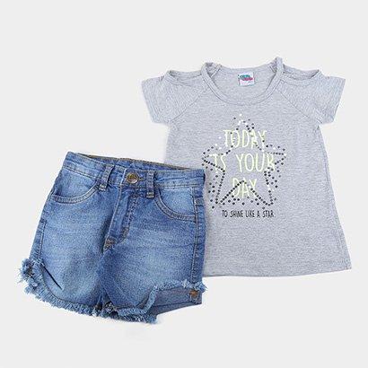 Conjunto Infantil Kiko & Kika Shorts Jeans Feminino