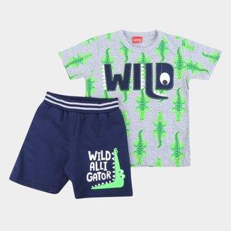 Conjunto Infantil Kyly Bermuda Moletom E Camiseta Wild Alli Gator Masculino