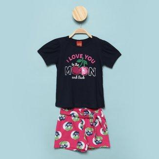 Conjunto Infantil Kyly Blusa Manga Bufante+Shorts Moletinho Estampado Feminino