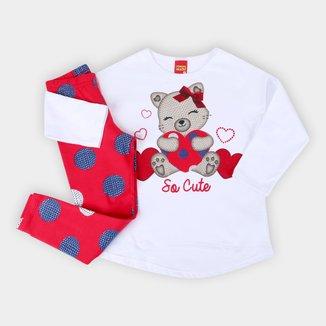 Conjunto Infantil Kyly Blusa Moletinho E Legging Cut Feminino