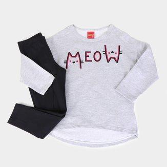 Conjunto Infantil Kyly Blusa Moletinho Legging Cotton Meow Feminino
