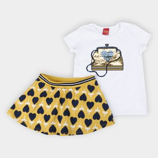 Conjunto Infantil Kyly Blusa+Saia Shorts Interno Paetes Feminino