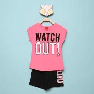 Conjunto Infantil Kyly Blusa+Shorts Moletom Watch Out!Feminino