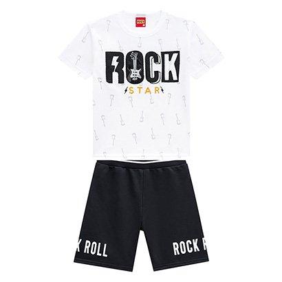 Conjunto Infantil Kyly Camiseta + Bermuda Moletom Rock Star Masculino Masculino-Branco