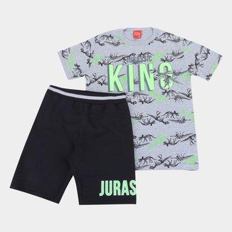 Conjunto Infantil Kyly Camiseta E Bermuda Moletom Jurassic king Masculino